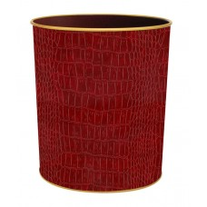 Textured Waste Bin Burgundy Croc
