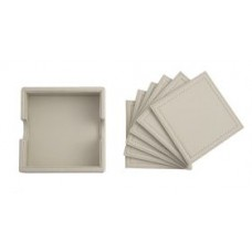 Taupe Leather Coasters (6)