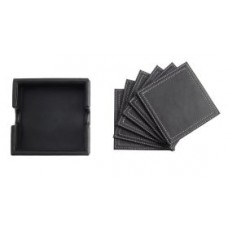Black Leather Coasters (6)